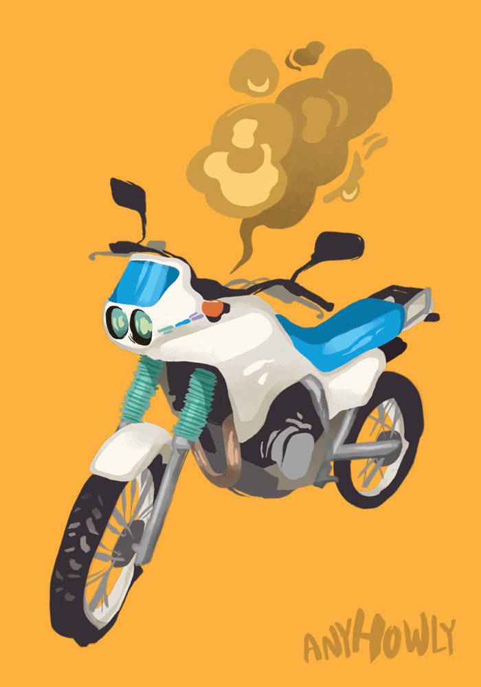 Honda AX-1 illustration motorcycle art